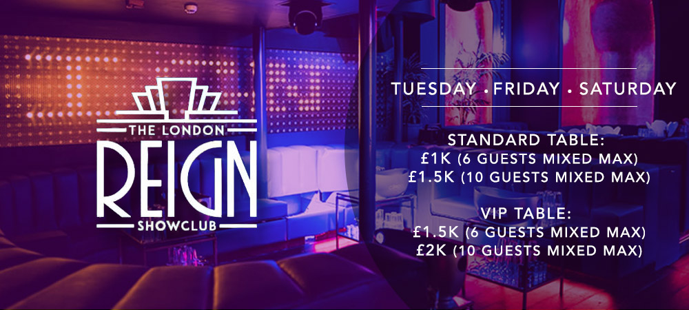 Reign Showclub VIP Table Booking